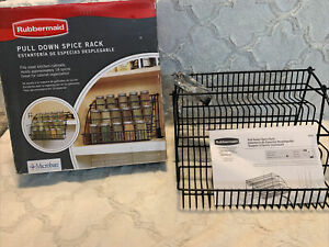 Rubbermaid Pull Down Spice Rack Black Wire NOS Open Box
