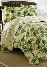 TROPICAL BEACH PALM TREES FULL QUILT & SHAMS SET GREEN TAN GOLD & CREAM 3P