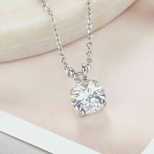 Solitaire 1.25ct (7.00mm) Round Cut Moissanite Pendant 925 Sterling Silver