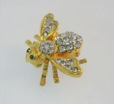 Joan Rivers Crystal Bee Green Eyes Goldtone Scatter Pin