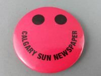 Vintage Newspaper Pin - Calgary Sun Happy Face Pin - Celluloid Pin