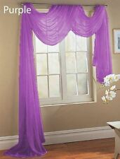 "1PC PURPLE SCARF VALANCE TOPPER CASCADING VOILE SHEER FABRIC 35-37""X216"""