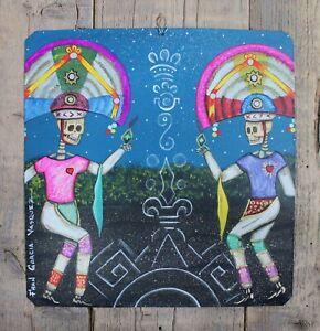 Day of the Dead Tin Retablo Skeleton Dancers Oaxaca Mexican Folk Art by Aguilar