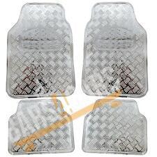 Shiney Shiny Silver Checker Style Design Chrome Look Car Rubber Floor Mats Set