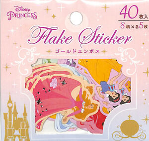 Disney Sticker Seal Decal Disney Princess 40 Gold Embossed Flake Stickers Ariel