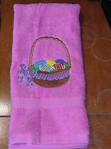 Embroidered Terry Hand Towel - Easter - Easter Basket - Multi Purple Ribbon