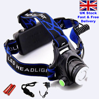Super Bright Waterproof Cree Bulb Head Torch Headlight Mains/Car Rechargeable