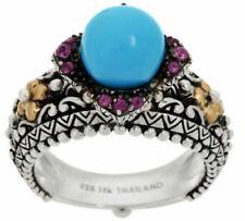Barbara Bixby Sterling 18k Turquoise Rhodolite Ring Size 6