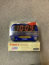 Retro Timex Alarm Clock with Rock & Roll Sounds-New-Sealed-Blue