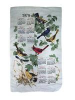 Vintage 1979 Folk Art Birds of Summer Calendar Dish Tea Towel Sz 27 X 16 In
