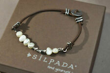 "SILPADA OXIDIZED 925 PEARL ON LEATHER BUTTON CLASP BRACELET B1062  7 1/2"""