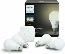 Philips Hue White A19 60W Equivalent LED Smart Bulb Starter Kit (4 A19 White...