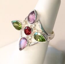 Multi Colored Garnet Amethyst Peridot Solid Sterling Silver Ring 5.5G Size 7.75
