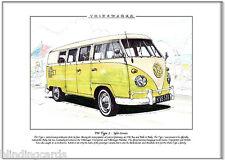 VOLKSWAGEN MAGGIOLONE TIPO 2 - Stampa artistica A4 - VW Autobus, Kombi,