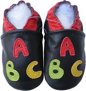 carozoo ABC black 2-3y soft sole leather toddler shoes
