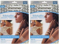 TWO PACKAGES - As Seen on TV Shimmer Metallic Jewelry Tattoos Gold & Silver