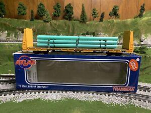 🚂ATLAS O TRAINMAN 3-RAIL TTX 62' BULKHEAD FLAT CAR! O SCALE TRAILER TRAIN PIPES