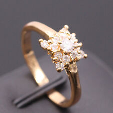 Pretty Square Women Ring White Crystal 18K Gold Plated Zircon Charm Ring Size 6