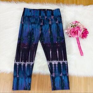 Onzie Yoga Flow Late Night Tie Dye Blue Purple Cropped Leggings Women's M/L
