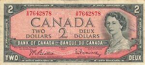 Canada 2 Dollars 1954 P-76b