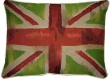 Union Jack Lime Green Flag Design #3 Oblong Woven Tapestry Cushion Cover