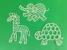 VTG Xmas Ornaments White Plastic Beaded Animals Turtle Giraffe Elephant Safari