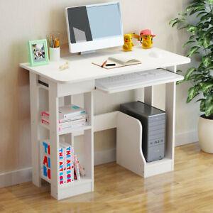 Corner Computer Desk H Shaped PC Laptop Gaming Table W/ Book Shelves Bookcase UK