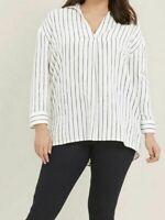Evans ladies blouse shirt top plus size 16 20 26 28 32 ivory stripe cotton linen