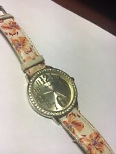 Betsey Johnson Watch Betseyville Two Tone Large Dial Floral Leather Band