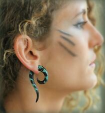 New Ear Gauge Organic Pair Piercing Carved Horn Tribal Turquoise Hook Plug woman