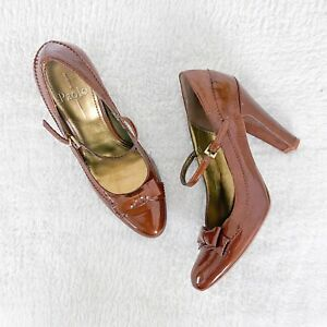 Linea Paolo Womens Round Toe Pumps Brown Bow Mary Jane Size 8