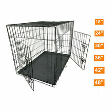 Metal Dog Cage Carrier Pet Puppy Folding Training Travel Crate 5 Size 24-48 Inch