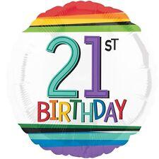 """21st BIRTHDAY PARTY SUPPLIES BALLOON 17"""" BIRTHDAY RAINBOW CONFETTI FOIL BALLOON"""
