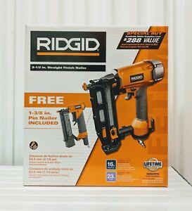 NEW Ridgid 2 1/2 in. Straight Finish Nailer w/ 1-3/8 in. Pin Nailer