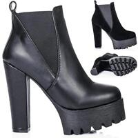 NEW WOMENS BLOCK HEEL CLEATED SOLE PLATFORM CHELSEA ANKLE BOOTS
