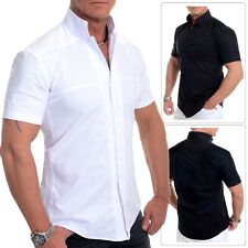Mens Collarless Shirt Short Sleeve Formal Holiday Slim Fit Grandad Collar Cotton