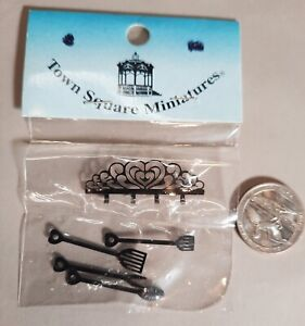 Dollhouse Miniature Kitchen or BBQ Utensils and Rack