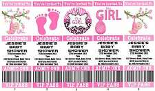 IT'S A GIRL Baby Shower Ticket Style Invitations fully personalised