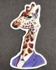 Funny Business Giraffe In Suit Sticker Decal Window Guitar Car Vinyl Laptop Bike