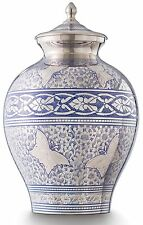 Cremation Urn for Ashes Large, Funeral Memorial Adult Purple Blue Brass SALE