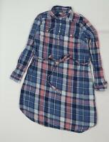 Gap Womens Blue Plaid  Shirt Dress  Size M