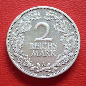 2 Reichsmark 1926 A vf / Silver/Weimar Republic/German Reich / Km# 45 J#320