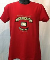 Karl Kani Designer Trademark Embroidered T-Shirt Red Signature Gold