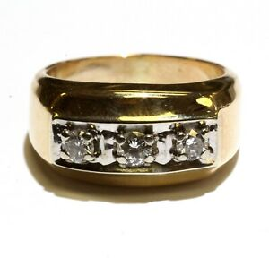 14k yellow gold .45ct SI2 H diamond mens 3 stone ring 10g gents vintage