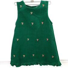Vintage Girls Rare Too Christmas Holiday Jumper Dress Cordouroy Embroidered Sz 5