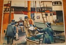 1) Work Boat 2) WW2 Aircraft Carrier Combat W/C Painting-1970s-I.L. Winarsky
