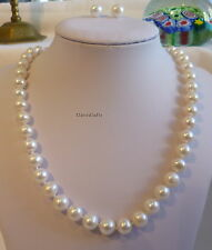 Genuine silver 9-10mm near circle freshwater pearl necklace+earrings set