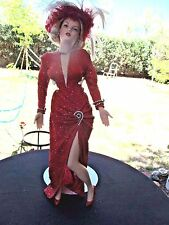 "MARILYN MONROE FRANKLIN MINT 19"" PORCELAIN DOLL GENTLEMEN PREFER BLONDES RED DRE"