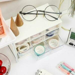 Mini Desktop Plastic Drawers Storage Draw Tower 9 Grids Office Home Table A6K2