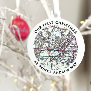 Personalised Map Our First Christmas New Home Xmas Tree Bauble Decor Gift UK map